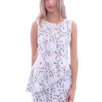 White Day Dress - White Lace Peplum Dress | UsTrendy
