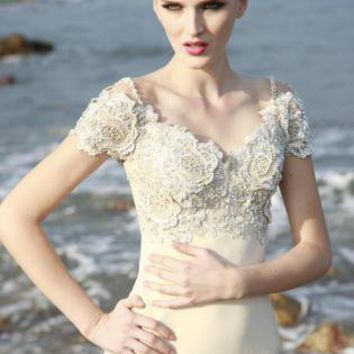 Off white bridal dress simple cream from ustrendy for Simple cream wedding dresses