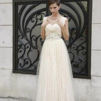 Off-white Prom Dress - Beige Chiffon Belted Evening Dress | UsTrendy
