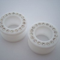 White Bling Flesh Tunnels (8 gauge - 11/16 inch)
