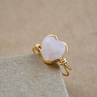 Rose Quartz Heart Gold Tone Ear Cuff