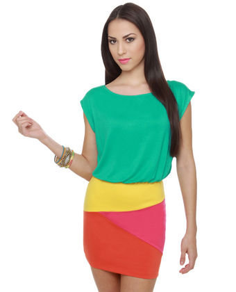 Cute Color Block Dress - Teal Dress - Tropical Dress - $35.50