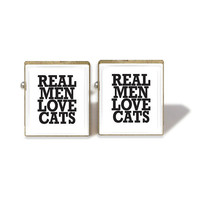 Scrabble Tile Cuff Links Real Men Love Cats Cuff by IncrediblyHip