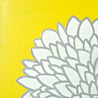 Yellow White and Gray Flower Painting   by ASimpleKindOfFancy