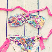 Wild Flowers Coral Bikini Set