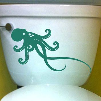 OCTOPUS DECAL size good for toilet Home Decor Vinyl by EyvalDecal