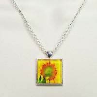 Glass Tile Necklace, Glass Tile Jewelry, Glass Tile Photo Pendant Necklace, Glass Tile Pendant