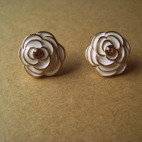 White Rose Earring Studs by Bitsofbling on Etsy
