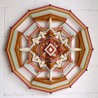 Golden Sage, an 24 inch, 12 sided, Ojo de Dios mandala, by Jay Mohler, in stock and ready to ship