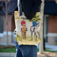 Horse and Rider Market Tote- ON SALE - horses riding equestrian english countryside manor house shopping bag diaper bag grocery carryon