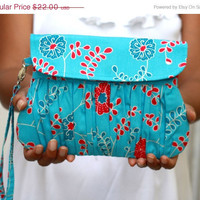SALE Blue and Fuchsia Clutch - Floral Clutch fuchsia and Blue