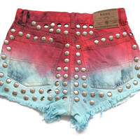 Dip dye high waisted denim shorts S by deathdiscolovesyou on Etsy