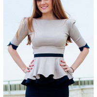 Beige peplum blouse, beige with black Wristbands, office or elegant