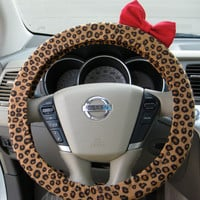 Cheetah Steering Wheel Cover with Matching Red Bow