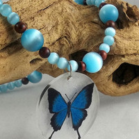 Blue and Brown Butterfly Necklace and Bracelet by theotherstacey