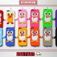 1X USA FAST SHIPPING 3D PENGUIN SOFT NEW APPLE IPHONE 5 CASE COVER + FREE SCREEN