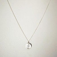 Silver Button Necklace - Handmade Pendant with Chain in Sterling Silver - Arts &amp; Crafts - Gift for the Crafty Person