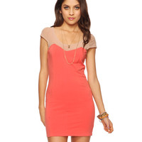 Paneled Mesh Yoke Dress | FOREVER21 - 2008584577