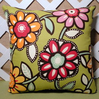Giant Flower Blooms Pillow Cover Green Background, w/Rose Pink Orange