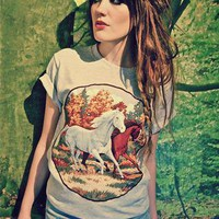Applique Horses Horse Print Grey T-shirt