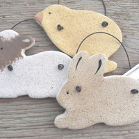 Easter Decorations Set of 3 Salt Dough Ornaments