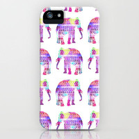Elephants Aztec Pattern Pink Teal Nebula Galaxy iPhone Case by Girly Trend | Society6