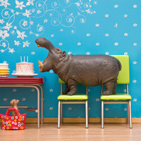 hippo art bright colorful retro kitchen blue by WildLifePrints