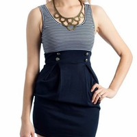button striped dress $19.00 in BLACK NAVY - Casual | GoJane.com