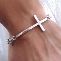 Side cross bracelet wish bracelet by pier7craft on Etsy