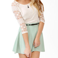 Lace Sleeve Linen Top | FOREVER 21 - 2018409152