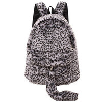 Bestgoods — Cute Leopard With Tail Backpack Bag
