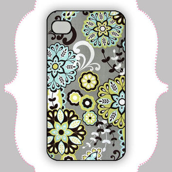 iPhone  Case Cyan/Lime Flower Case iPhone 4 Case by CalisCases