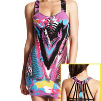 Charlotte Russe - Cage-Back Graffiti Dress