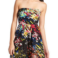 Charlotte Russe - Paint Splatter Pleated Dress