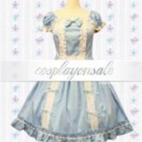 Classic Short Sleeves Bow Lace Ruffles Cotton Sweet Lolita Dress [T110744] - $81.00 : Cosplay, Cosplay Costumes, Lolita Dress, Sweet Lolita