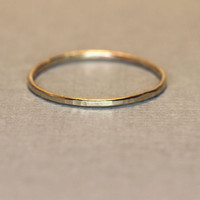 Skinny 14Kt gold ring in yellow or rose gold, hammered stacking ring or knuckle ring