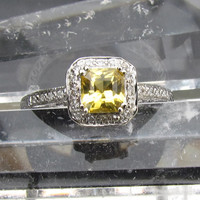 Asscher Cut Yellow Sapphire 14k White Gold Diamond Halo Engagement Ring 2nd INSTALLMENT Reserved for Shauna