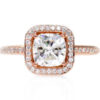 Cushion Moissanite Engagement Ring 14K Rose Gold Diamond Halo Conflict Free Custom Bridal Jewelry