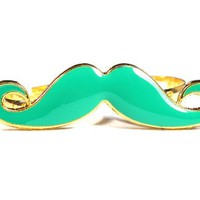 Green Handlebar Mustache Double Ring Adjustable Knuckle Band Vintage Indie Hipster Fashion Jewelry