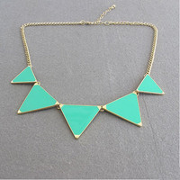 Triangle necklace, Green triangle necklace, statement necklace, Bib necklace