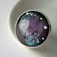 Galaxy Ring, Cosmic Space Ring, Adjustable Glass Ring, Starry Night