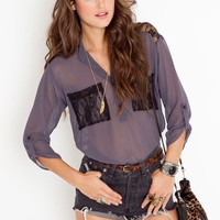 Lace Pocket Blouse in  Clothes Tops at Nasty Gal