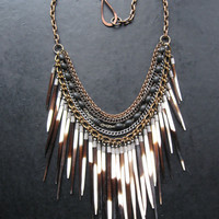 Porcupine Quill Bib Necklace - Antique Rosary Beads and Tribal Fringe - Ceremony