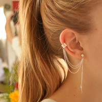 Simple Leaf Ear Cuff With Chains ( A2 )