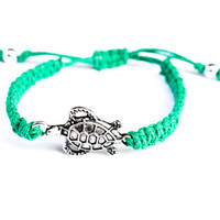 Turtle Bracelet Hemp Friendship Macrame Adjustable Green