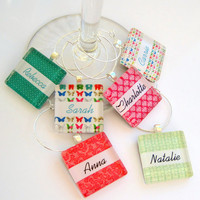 Personalized Wine Charms - Butterfly Patterns - Set of Six Glass Wine Charms