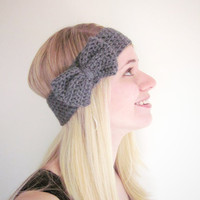 Crochet Bow Ear Warmer Headband in Charcoal Gray by SalemStyle