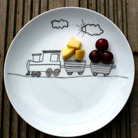 Children's fun food side plate  train design by MrTeacup on Etsy