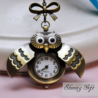 Brass Antique Bronze Night Owl Pocket Watch by Shininggift on Etsy