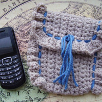 Beige Cell Phone/Tissue Case, with Blue Stitching, Crochet
